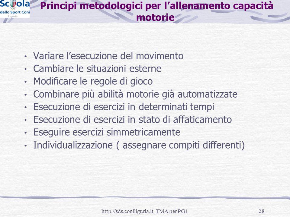 28 Principi metodologici per l'allenamento capacità motorie Variare l'esecuzione del movimento Cambiare le situazioni esterne Modificare le regole di