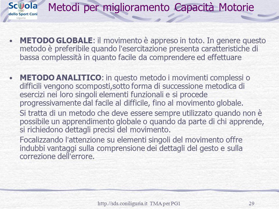 29 Metodi per miglioramento Capacità Motorie METODO GLOBALE: il movimento è appreso in toto. In genere questo metodo è preferibile quando l'esercitazi