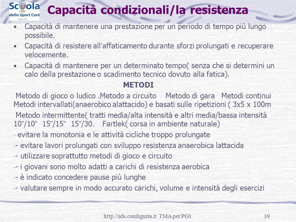 Capacità condizionali/la resistenza Capacità di mantenere una prestazione per un periodo di tempo più lungo possibile. Capacità di resistere all'affat