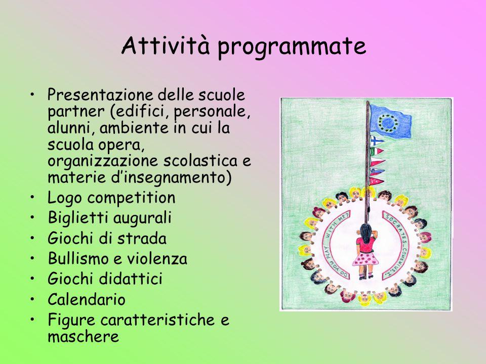 Attività programmate Presentazione delle scuole partner (edifici, personale, alunni, ambiente in cui la scuola opera, organizzazione scolastica e mate