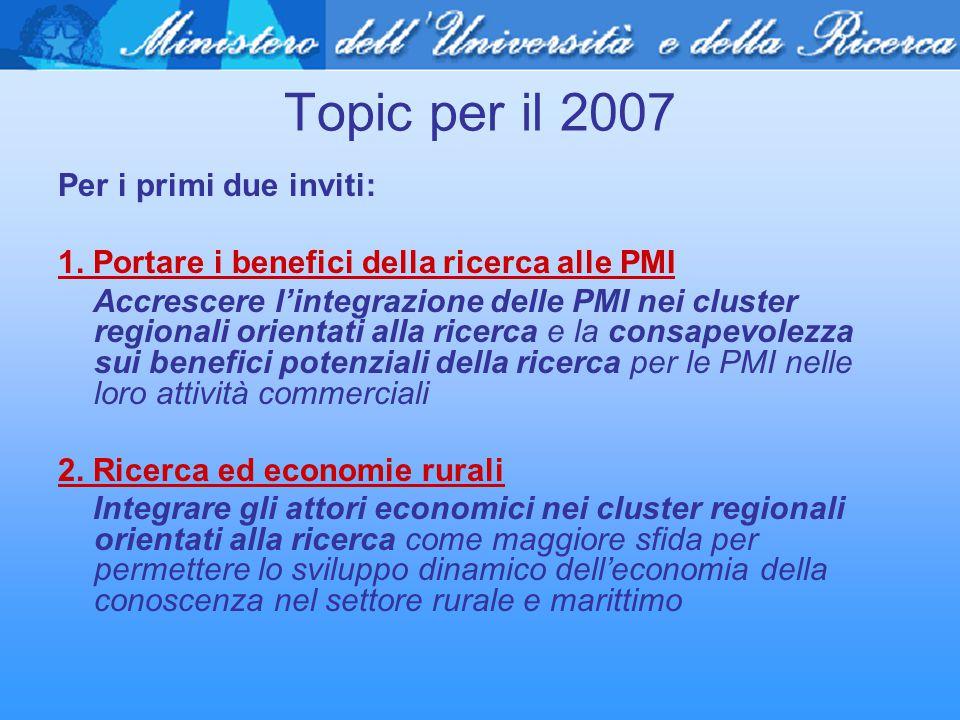 Topic per il 2007 Per i primi due inviti: 1. Portare i benefici della ricerca alle PMI Accrescere l'integrazione delle PMI nei cluster regionali orien