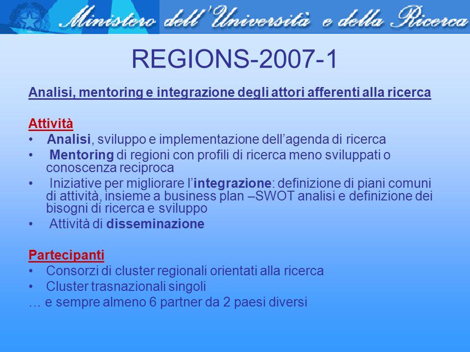 REGIONS-2007-1 Analisi, mentoring e integrazione degli attori afferenti alla ricerca Attività Analisi, sviluppo e implementazione dell'agenda di ricer
