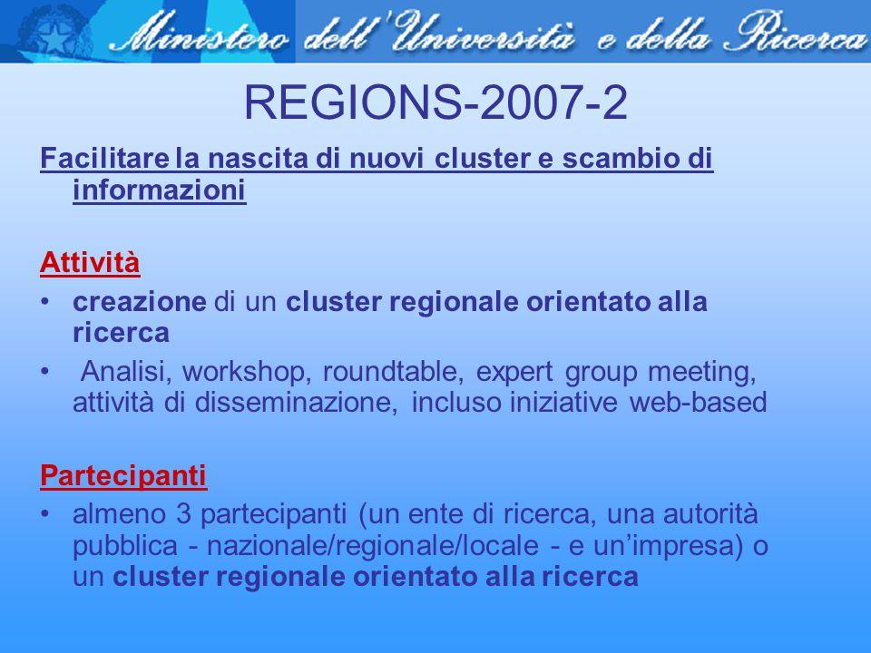 REGIONS-2007-2 Facilitare la nascita di nuovi cluster e scambio di informazioni Attività creazione di un cluster regionale orientato alla ricerca Anal