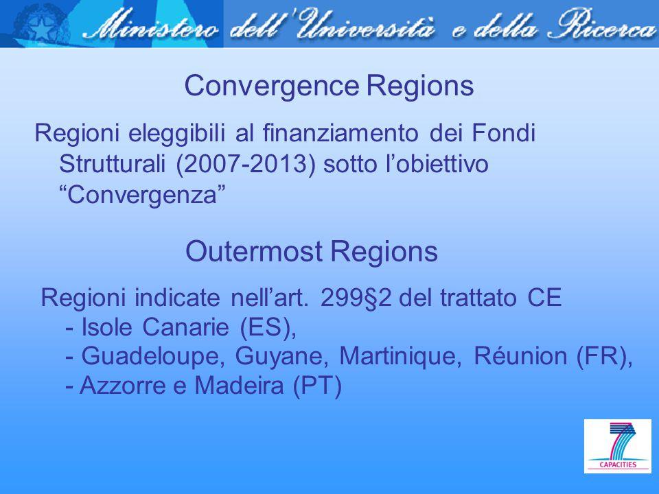 """Convergence Regions Regioni eleggibili al finanziamento dei Fondi Strutturali (2007-2013) sotto l'obiettivo """"Convergenza"""" Outermost Regions Regioni in"""