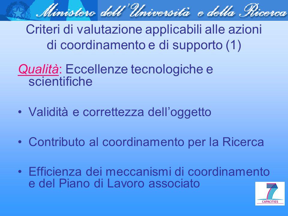 Criteri di valutazione applicabili alle azioni di coordinamento e di supporto (1) Qualità: Eccellenze tecnologiche e scientifiche Validità e correttez