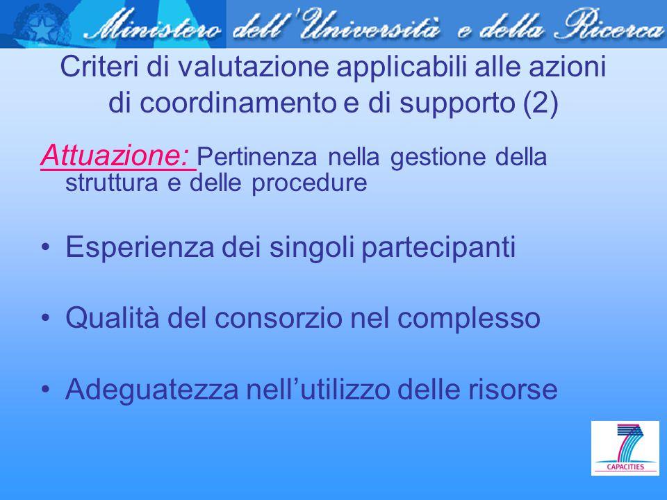 Criteri di valutazione applicabili alle azioni di coordinamento e di supporto (2) Attuazione: Pertinenza nella gestione della struttura e delle proced