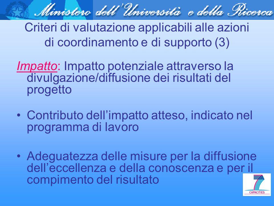 Criteri di valutazione applicabili alle azioni di coordinamento e di supporto (3) Impatto: Impatto potenziale attraverso la divulgazione/diffusione de