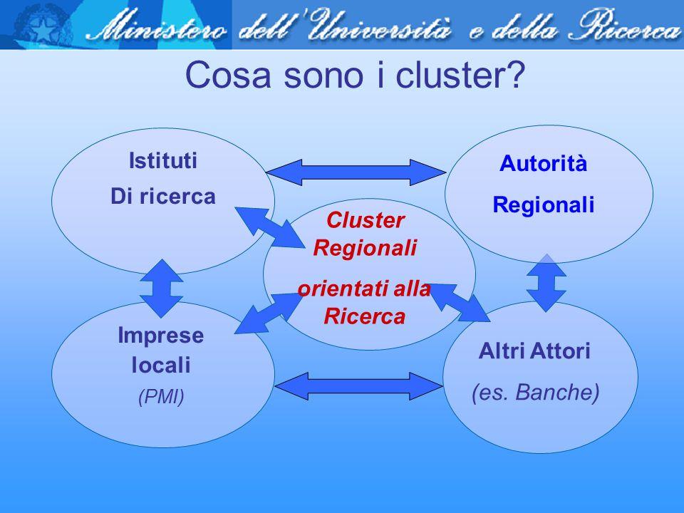 Cosa sono i cluster? Istituti Di ricerca Imprese locali (PMI) Cluster Regionali orientati alla Ricerca Altri Attori (es. Banche) Autorità Regionali