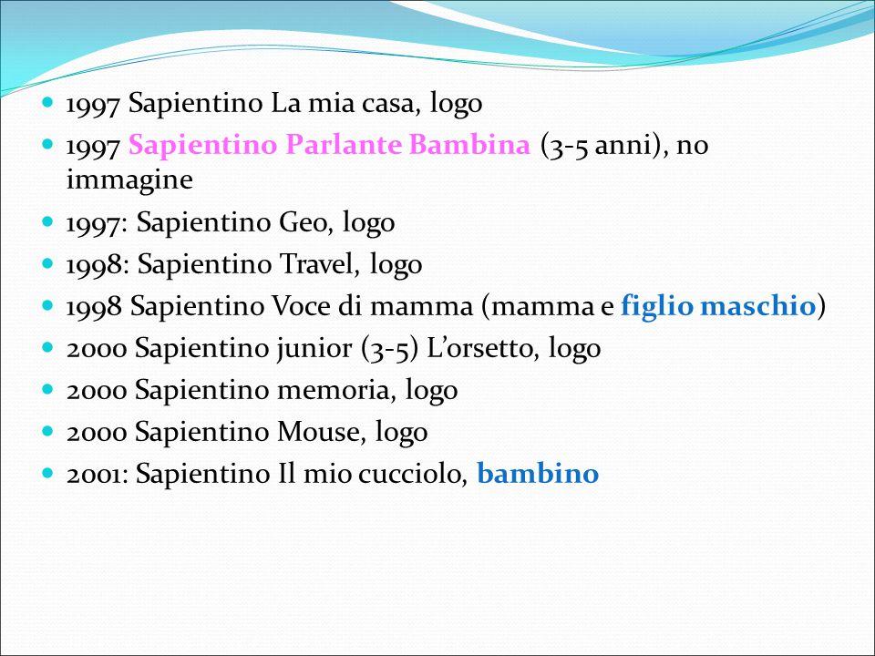 1997 Sapientino La mia casa, logo 1997 Sapientino Parlante Bambina (3-5 anni), no immagine 1997: Sapientino Geo, logo 1998: Sapientino Travel, logo 19