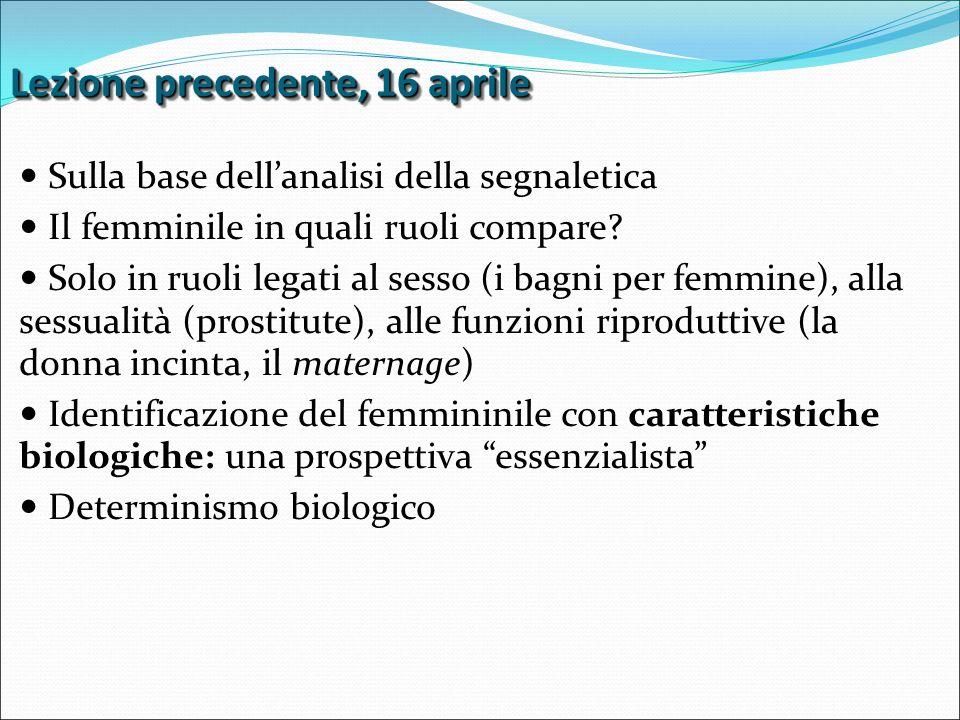 Lezione precedente, 16 aprile Sulla base dell'analisi della segnaletica Il femminile in quali ruoli compare.