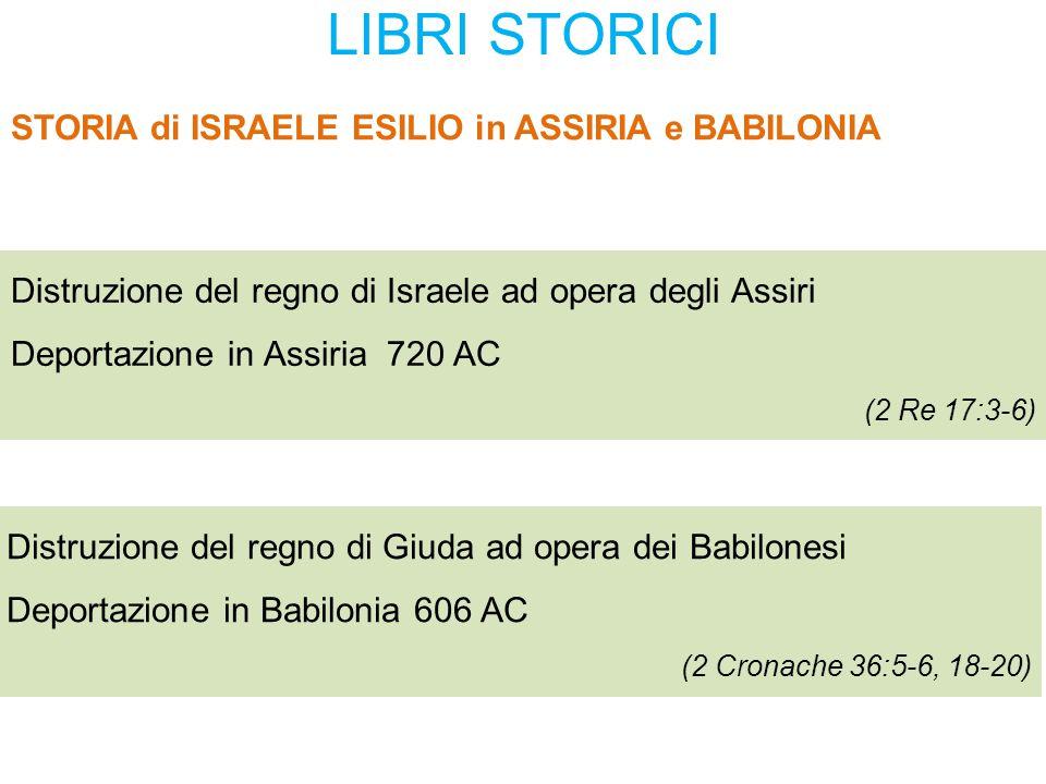 LIBRI STORICI STORIA di ISRAELE ESILIO in ASSIRIA e BABILONIA Distruzione del regno di Israele ad opera degli Assiri Deportazione in Assiria 720 AC (2