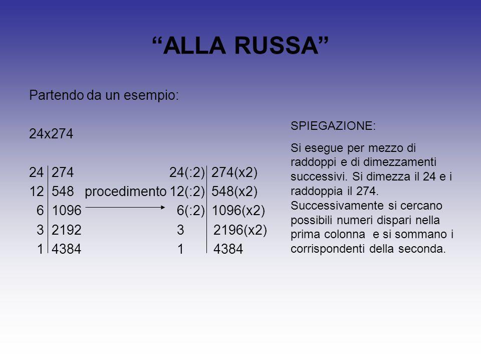 """""""ALLA RUSSA"""" Partendo da un esempio: 24x274 24 274 24(:2) 274(x2) 12 548 procedimento 12(:2) 548(x2) 6 1096 6(:2) 1096(x2) 3 2192 3 2196(x2) 1 4384 1"""
