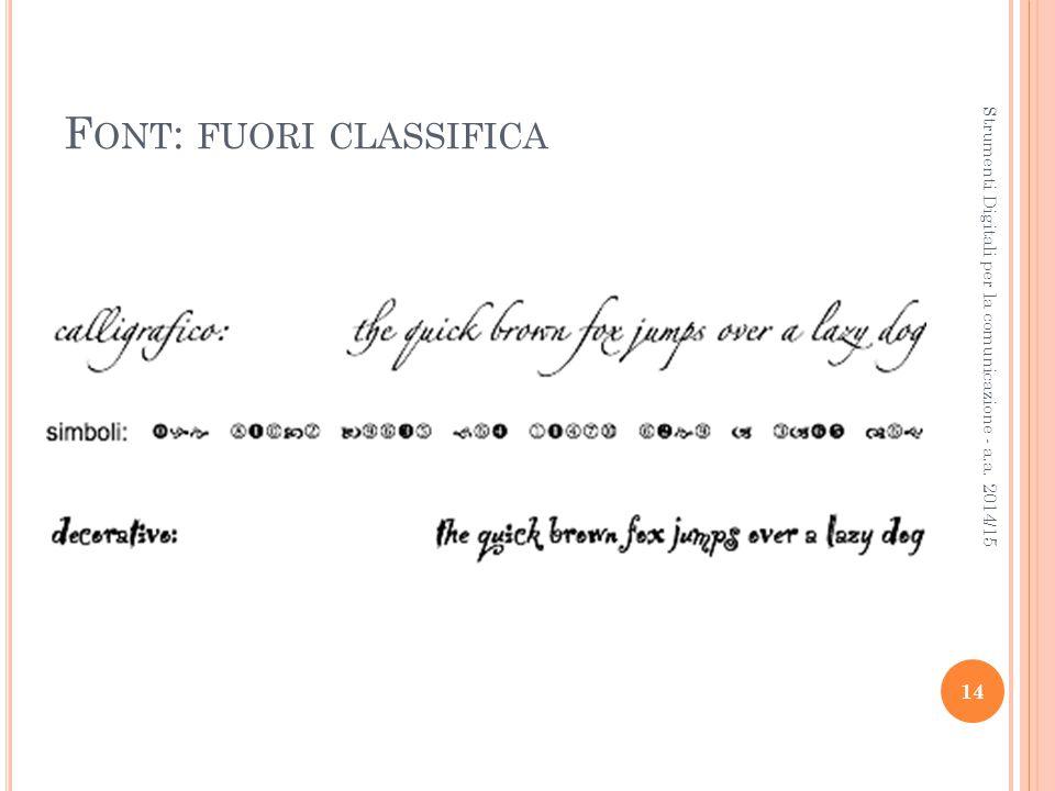 F ONT : FUORI CLASSIFICA 14 Strumenti Digitali per la comunicazione - a.a. 2014/15