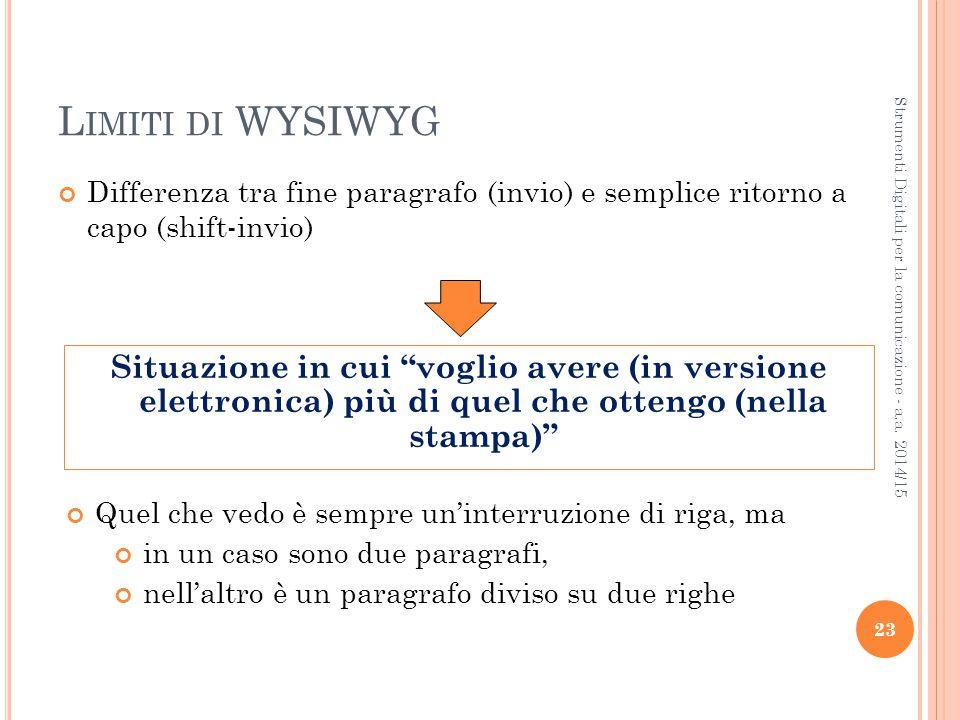 L IMITI DI WYSIWYG Differenza tra fine paragrafo (invio) e semplice ritorno a capo (shift-invio)  23 Strumenti Digitali per la comunicazione - a.a.