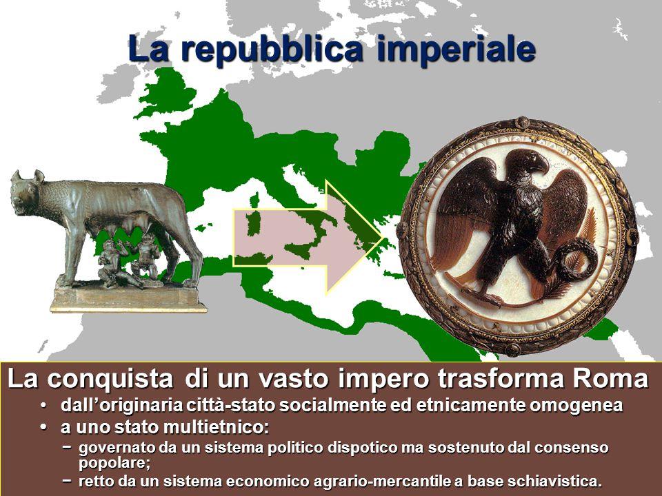 La repubblica imperiale La conquista di un vasto impero trasforma Roma dall'originaria città-stato socialmente ed etnicamente omogeneadall'originaria