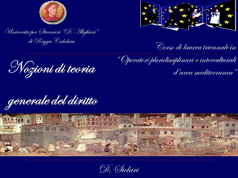 """Nozioni di teoria generale del diritto D. Siclari Corso di laurea triennale in """"Operatori pluridisciplinari e interculturali d'area mediterranea"""" Univ"""