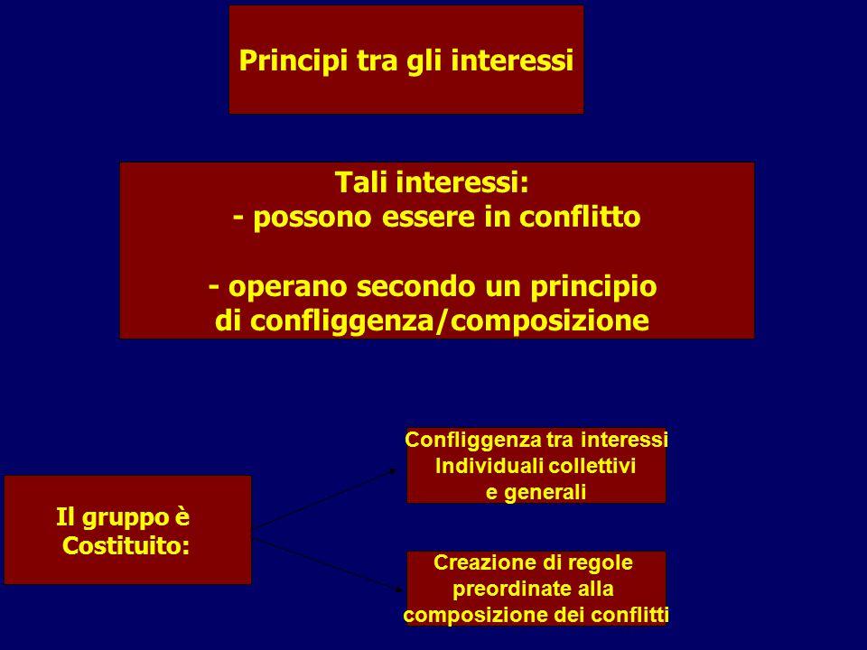 Tali interessi: - possono essere in conflitto - operano secondo un principio di confliggenza/composizione Principi tra gli interessi Il gruppo è Costi