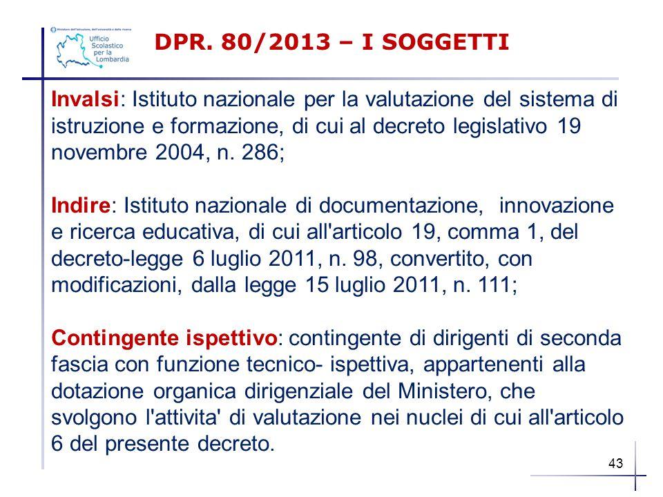 Invalsi: Istituto nazionale per la valutazione del sistema di istruzione e formazione, di cui al decreto legislativo 19 novembre 2004, n. 286; Indire: