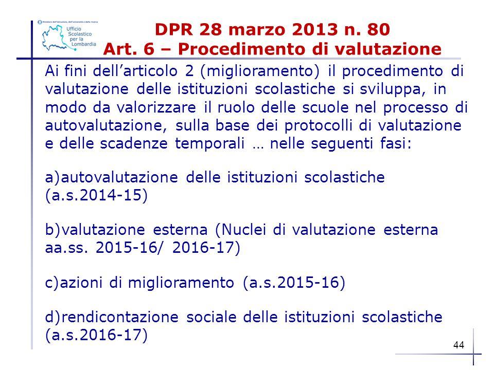 DPR 28 marzo 2013 n. 80 Art. 6 – Procedimento di valutazione Ai fini dell'articolo 2 (miglioramento) il procedimento di valutazione delle istituzioni