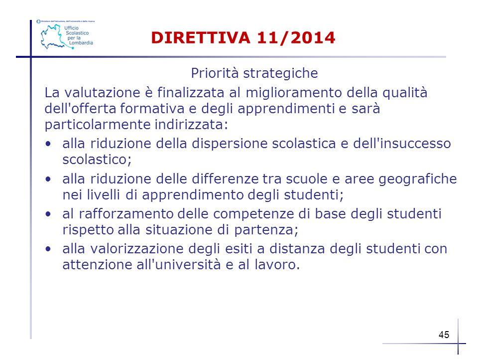DIRETTIVA 11/2014 Priorità strategiche La valutazione è finalizzata al miglioramento della qualità dell'offerta formativa e degli apprendimenti e sarà
