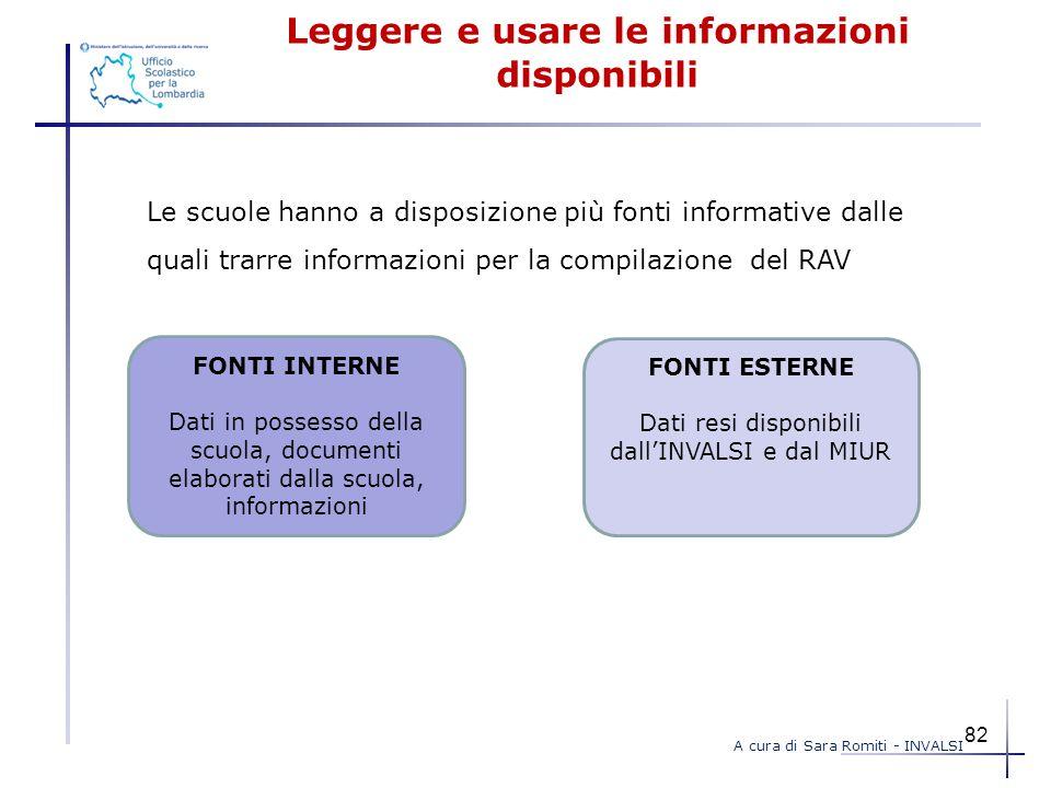 Leggere e usare le informazioni disponibili Le scuole hanno a disposizione più fonti informative dalle quali trarre informazioni per la compilazione d