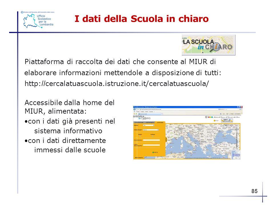 I dati della Scuola in chiaro Piattaforma di raccolta dei dati che consente al MIUR di elaborare informazioni mettendole a disposizione di tutti: http