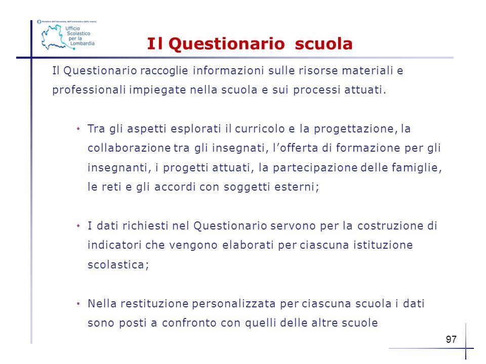 Il Questionario scuola IlQuestionario raccoglie informazioni sulle risorse materiali e professionali impiegate nella scuola e sui processi attuati. Tr