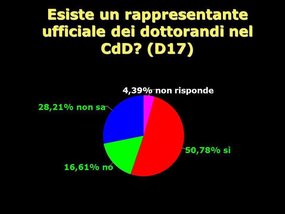 Esiste un rappresentante ufficiale dei dottorandi nel CdD.