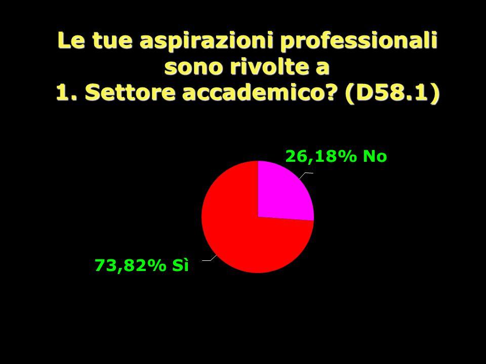 Le tue aspirazioni professionali sono rivolte a 1. Settore accademico? (D58.1) 26,18% No 73,82% Sì