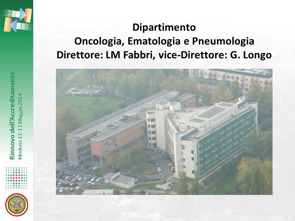 Rinnovo dell'Accreditamento Modena 12-13 Maggio 2014 Dipartimento Oncologia, Ematologia e Pneumologia Direttore: LM Fabbri, vice-Direttore: G.