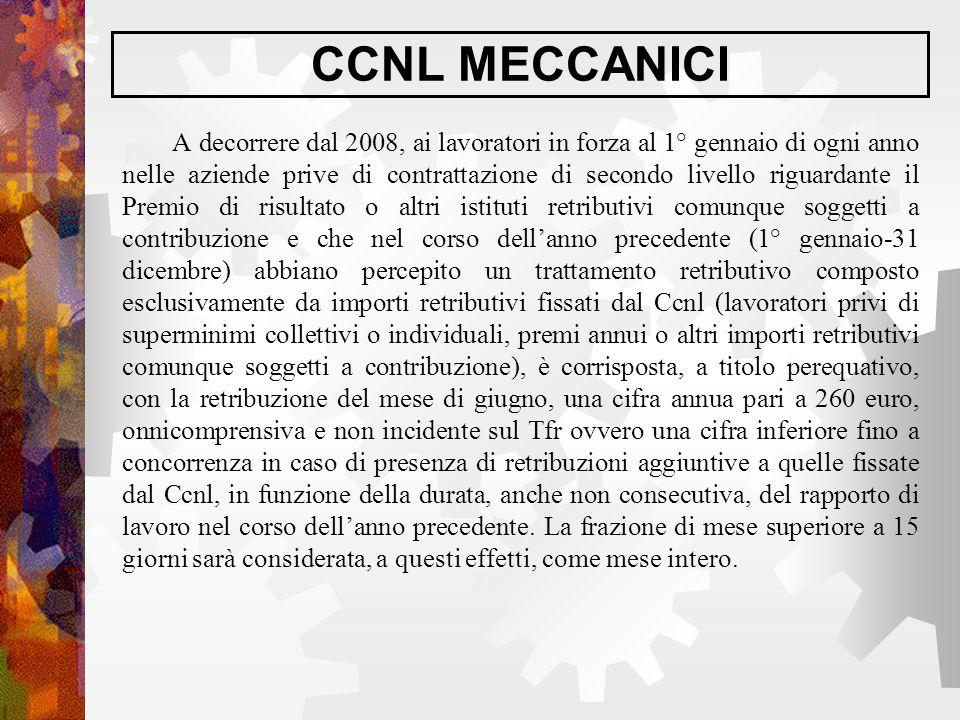 CCNL MECCANICI A decorrere dal 2008, ai lavoratori in forza al 1° gennaio di ogni anno nelle aziende prive di contrattazione di secondo livello riguar