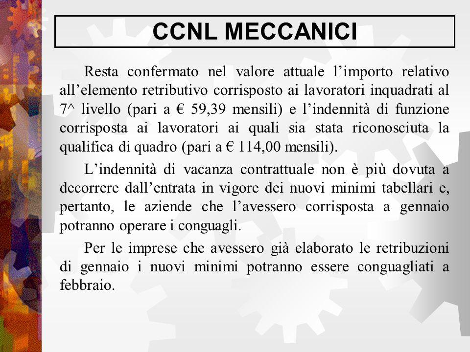 CCNL MECCANICI Resta confermato nel valore attuale l'importo relativo all'elemento retributivo corrisposto ai lavoratori inquadrati al 7^ livello (par