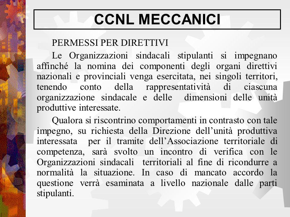 CCNL MECCANICI PERMESSI PER DIRETTIVI Le Organizzazioni sindacali stipulanti si impegnano affinché la nomina dei componenti degli organi direttivi naz