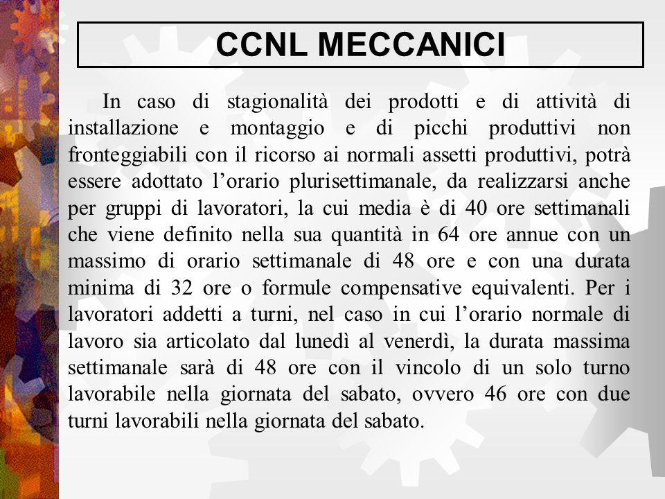 CCNL MECCANICI In caso di stagionalità dei prodotti e di attività di installazione e montaggio e di picchi produttivi non fronteggiabili con il ricors