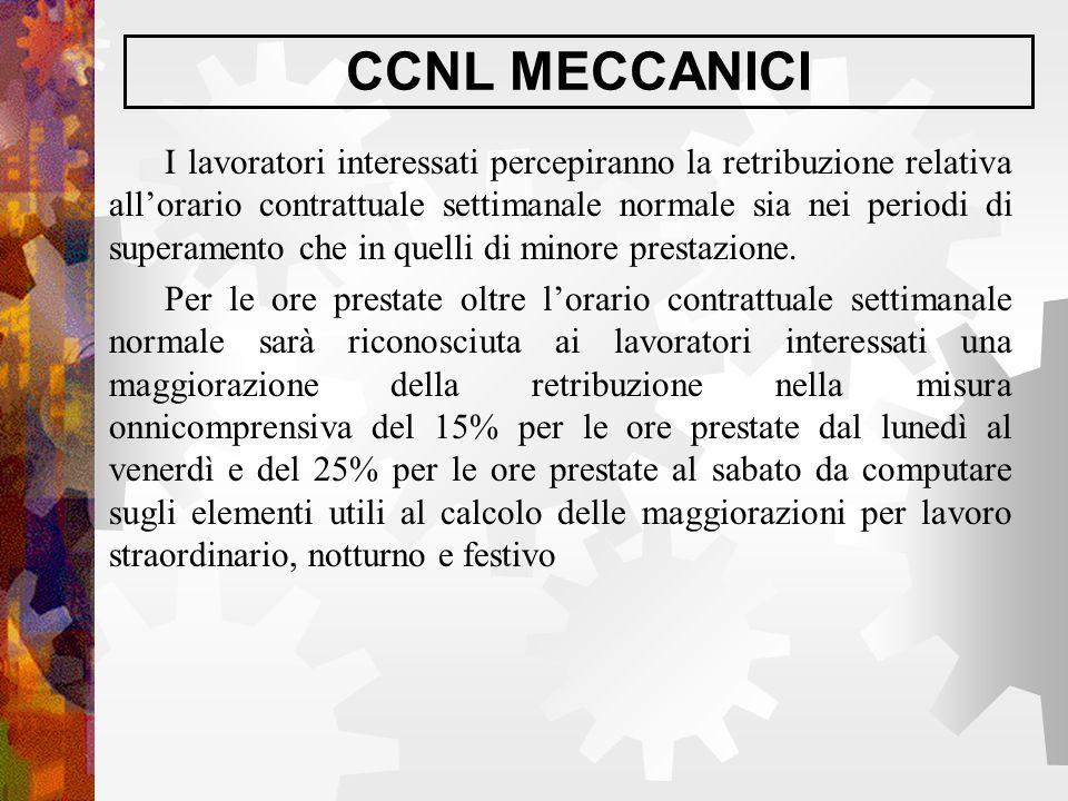 CCNL MECCANICI I lavoratori interessati percepiranno la retribuzione relativa all'orario contrattuale settimanale normale sia nei periodi di superamen