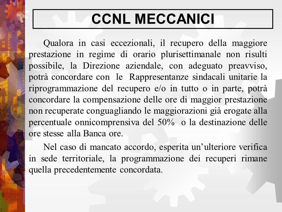 CCNL MECCANICI Qualora in casi eccezionali, il recupero della maggiore prestazione in regime di orario plurisettimanale non risulti possibile, la Dire