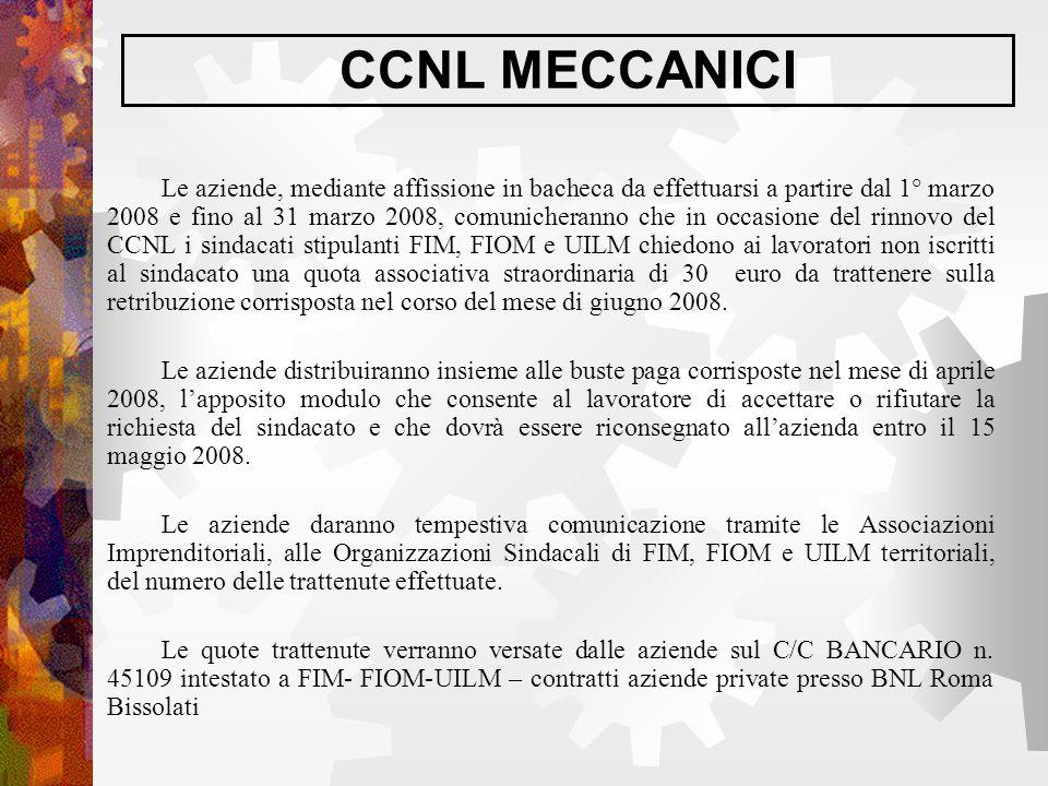 CCNL MECCANICI Le aziende, mediante affissione in bacheca da effettuarsi a partire dal 1° marzo 2008 e fino al 31 marzo 2008, comunicheranno che in oc