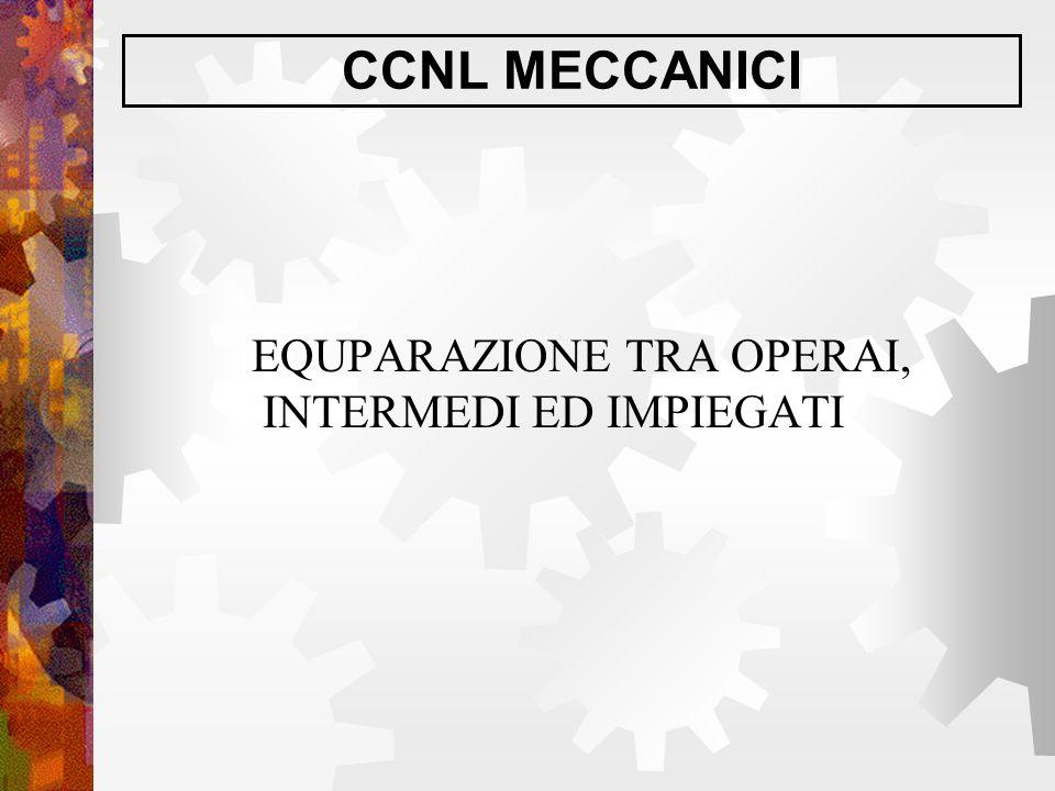CCNL MECCANICI EQUPARAZIONE TRA OPERAI, INTERMEDI ED IMPIEGATI