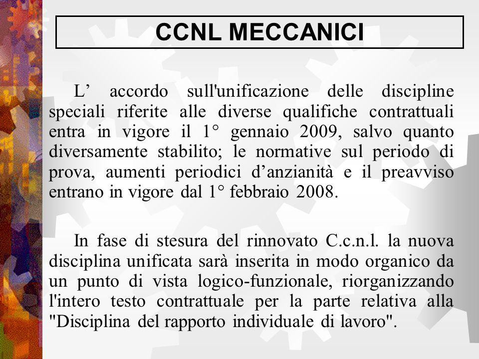CCNL MECCANICI L' accordo sull'unificazione delle discipline speciali riferite alle diverse qualifiche contrattuali entra in vigore il 1° gennaio 2009