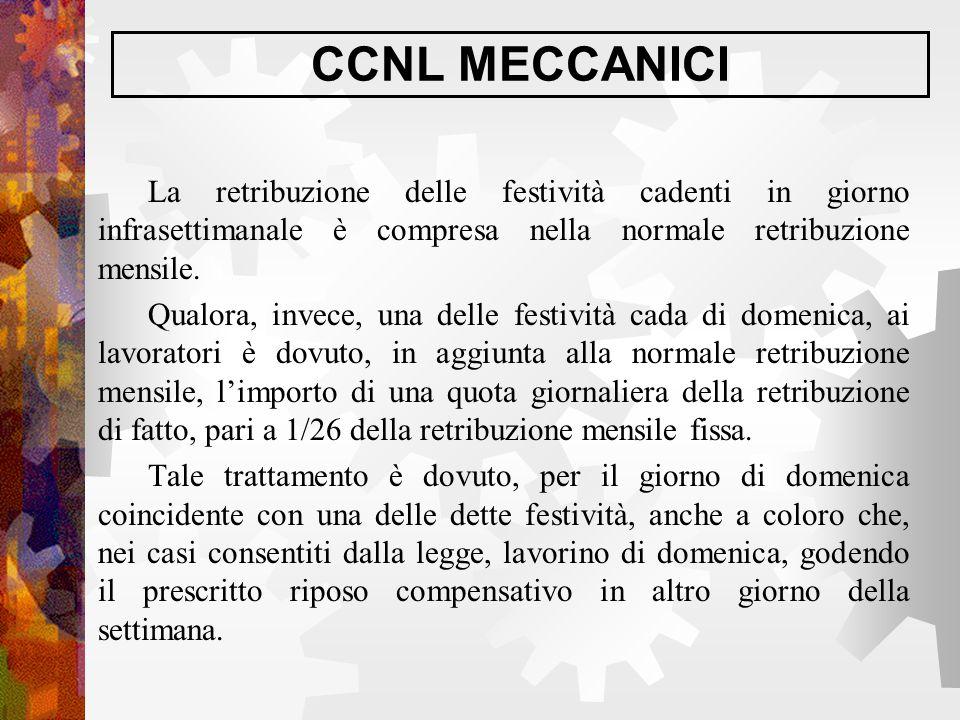 CCNL MECCANICI La retribuzione delle festività cadenti in giorno infrasettimanale è compresa nella normale retribuzione mensile. Qualora, invece, una
