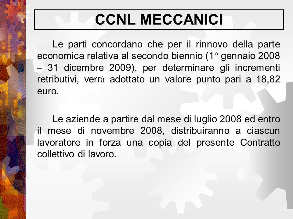 CCNL MECCANICI Le parti concordano che per il rinnovo della parte economica relativa al secondo biennio (1° gennaio 2008 – 31 dicembre 2009), per dete