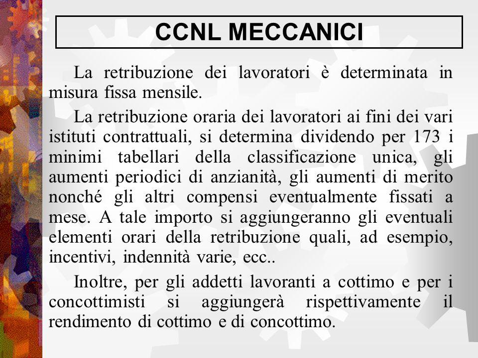 CCNL MECCANICI La retribuzione dei lavoratori è determinata in misura fissa mensile. La retribuzione oraria dei lavoratori ai fini dei vari istituti c