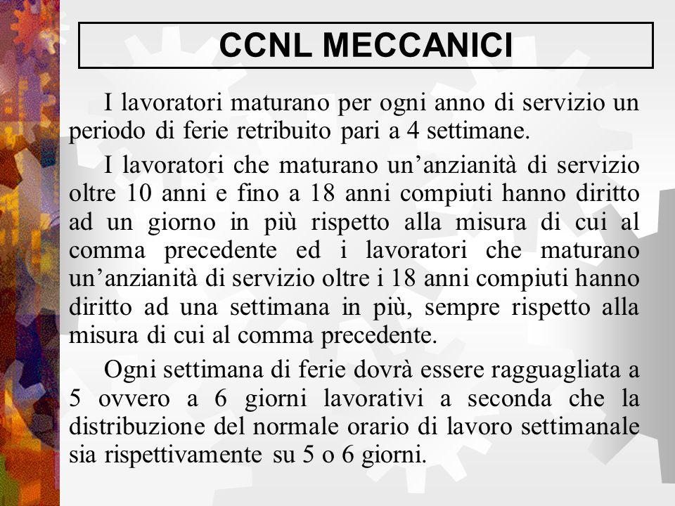 CCNL MECCANICI I lavoratori maturano per ogni anno di servizio un periodo di ferie retribuito pari a 4 settimane. I lavoratori che maturano un'anziani