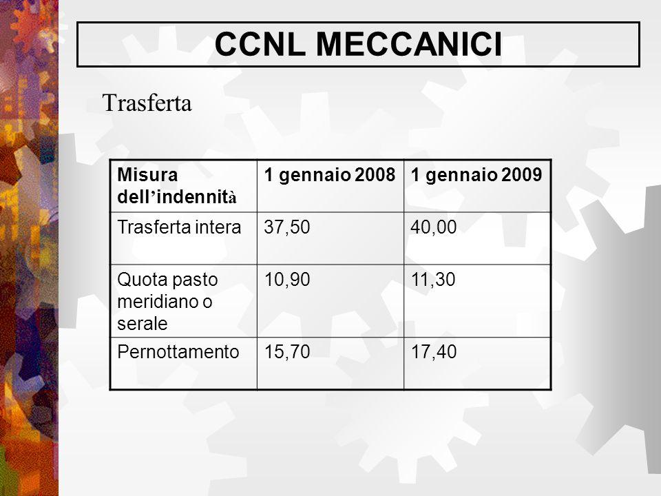 CCNL MECCANICI Trasferta Misura dell ' indennit à 1 gennaio 20081 gennaio 2009 Trasferta intera37,5040,00 Quota pasto meridiano o serale 10,9011,30 Pe