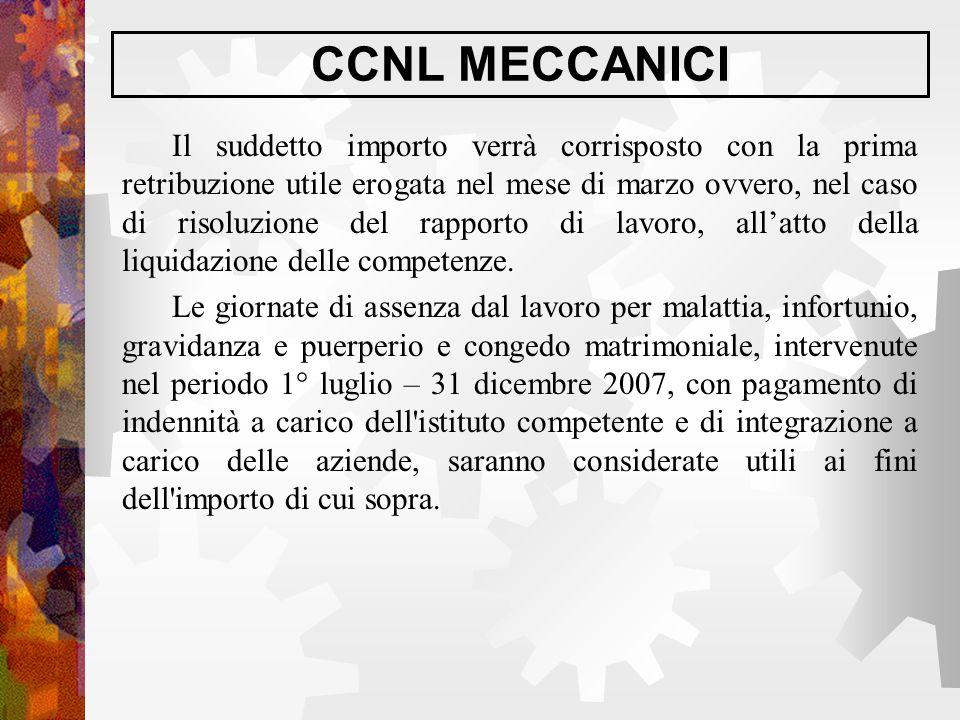 CCNL MECCANICI Il suddetto importo verrà corrisposto con la prima retribuzione utile erogata nel mese di marzo ovvero, nel caso di risoluzione del rap