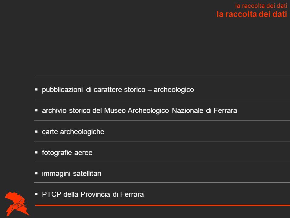 la raccolta dei dati  pubblicazioni di carattere storico – archeologico  archivio storico del Museo Archeologico Nazionale di Ferrara  carte archeo