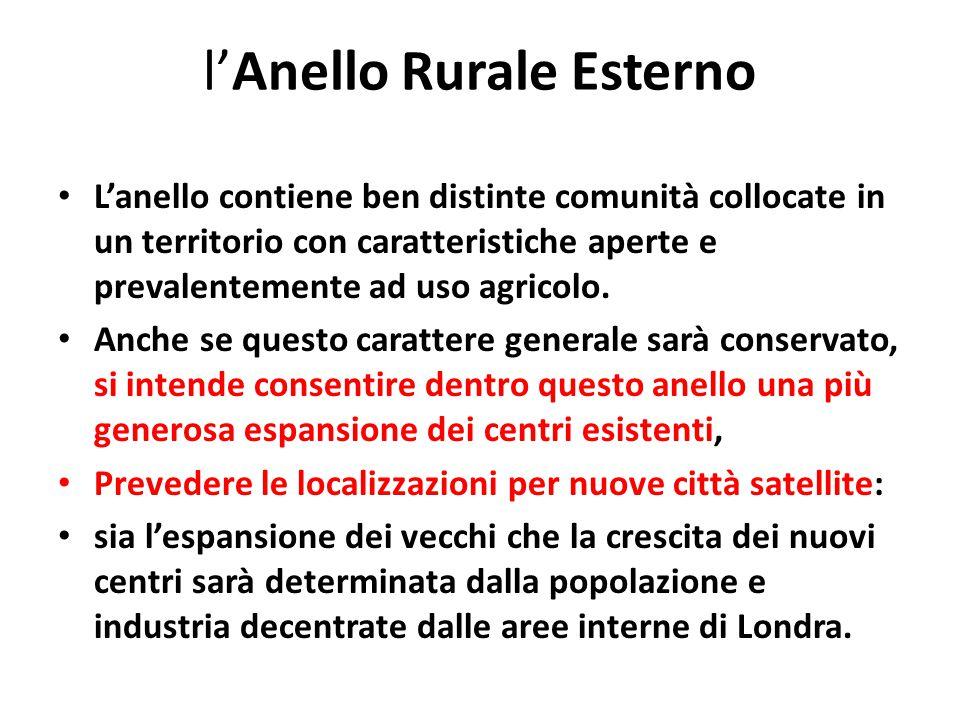 l'Anello Rurale Esterno L'anello contiene ben distinte comunità collocate in un territorio con caratteristiche aperte e prevalentemente ad uso agricolo.