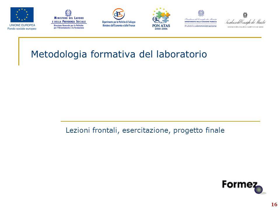 16 Metodologia formativa del laboratorio Lezioni frontali, esercitazione, progetto finale