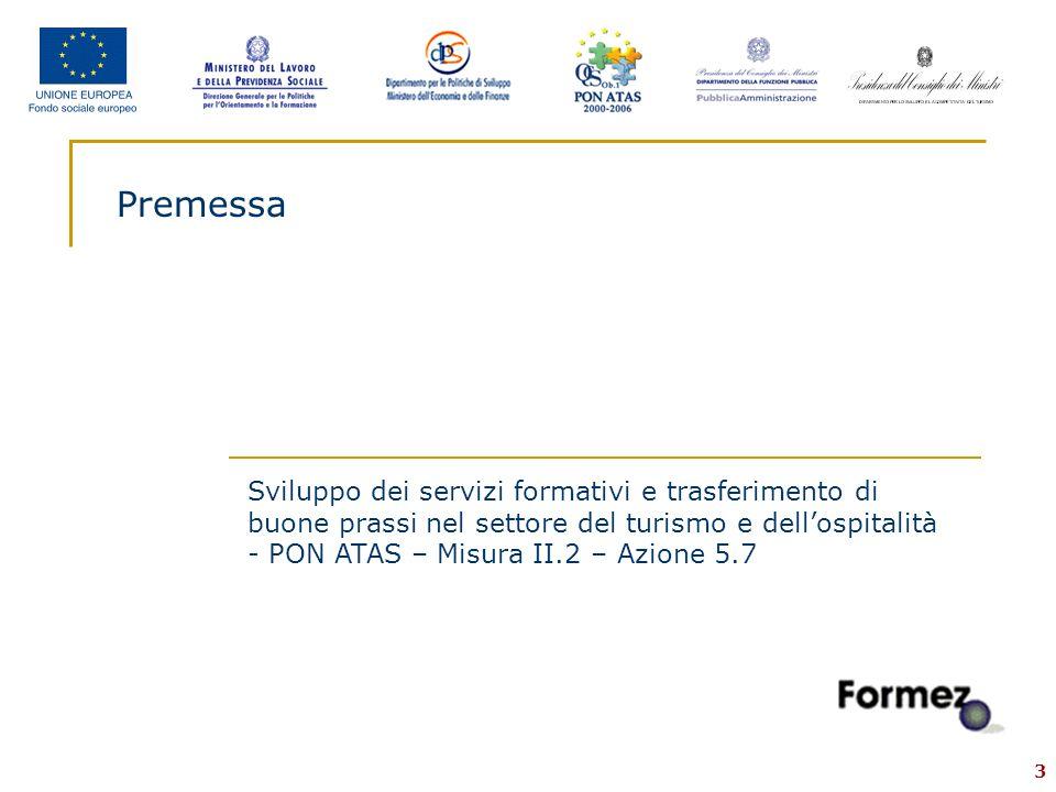 3 Premessa Sviluppo dei servizi formativi e trasferimento di buone prassi nel settore del turismo e dell'ospitalità - PON ATAS – Misura II.2 – Azione 5.7