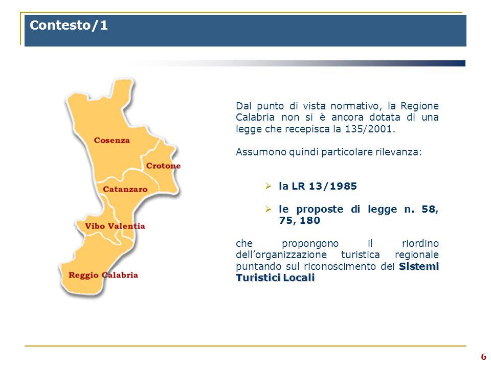 6 Contesto/1 Dal punto di vista normativo, la Regione Calabria non si è ancora dotata di una legge che recepisca la 135/2001.